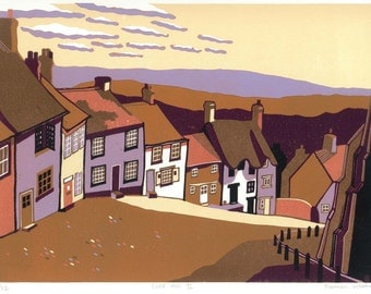 Gold Hill II, signed original linocut print, Limited Edition - contemporary fine art