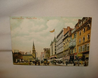 ANTIQUE POSTCARD Boston, MA - Tremont Street - 1900's Tinted