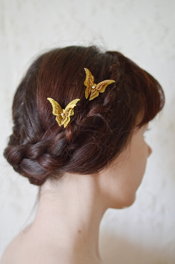 Princess of butterflies- brass butterfly gold wedding prom hair pin barrette hair pin