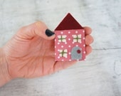 Handmade fabric felt house brooch