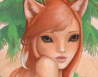 "Fine art print ""Kitsune"" Fox Girl with Big Eyes, Evergreen and Holly part of Wild Things Series by Carolina Lebar - 8""x10"""