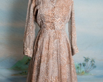 Rhinestone buttoned 1950s June Cleaver style dress - with matching cuff links