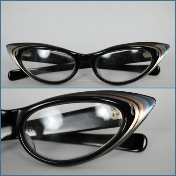 Cat Eye Frame Reading Glasses : Vintage 50s Cat Eye Reading Glasses Multi Color Variegated