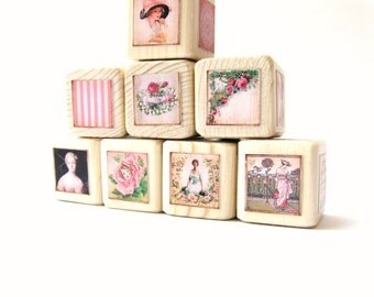 Wood block set. NEW  BABY GIFT. Shabby chic nursery decor.  Pink. Classic Toy. Victorian. Baby Shower decoration.