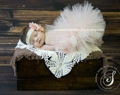 Vintage Peaches And Cream Tutu Newborn Tutu Custom Made With Matching Vintage Style Flower Headband Stunning Newborn Photo Prop