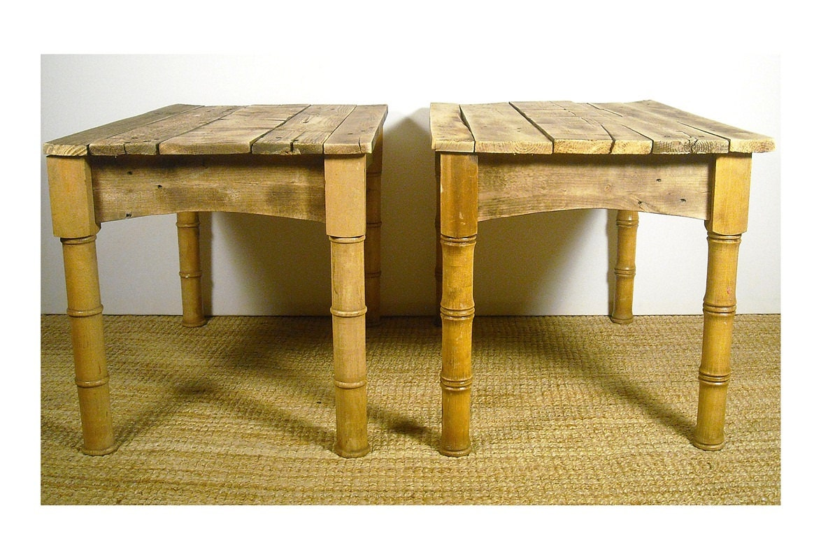 Rustic reclaimed wood pair of end tables side by
