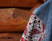 Jean Jacket, Persian Possibilities, Red, Black, Ecru Linen, Denim Jacket, Mediterranean Style