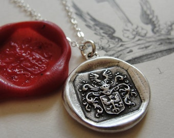Wax Seal Necklace Protection Eagle antique wax seal charm jewelry with armorial crest by RQP Studio