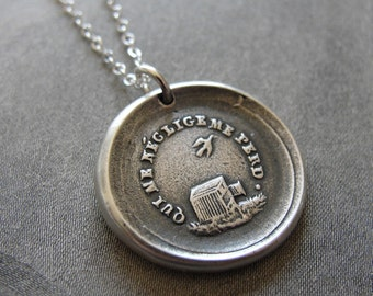 Wax Seal Necklace Who Neglects Me Loses Me -inspirational antique French wax seal charm necklace - birdcage inspirational necklace