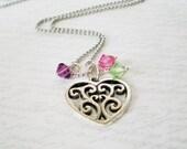 Family Birthstone Necklace, Everyday Necklace, Personalized Necklace, Heart Pendant, Mommy Jewelry, Mothers Necklace, Nana Necklace