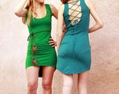 CLEARANCE SALE Open Back Funky Dress, Sexy Backless Pixie Dress, Bodycon dress, Teal dress