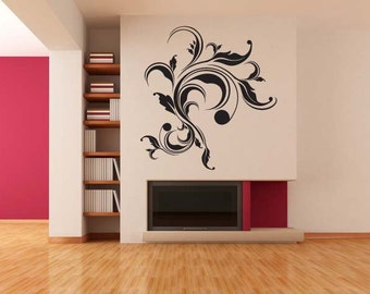 Old World, Baroque Flourish, Abstract Art, Decorative Design, Leaves, Leaf Vinyl Decal, Swirl Sticker, Wall, Home, Office, Bedroom Decor