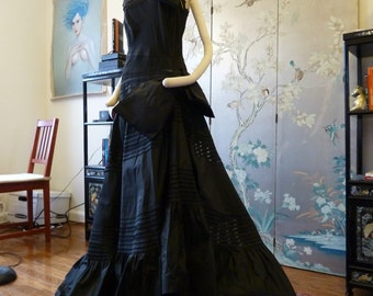 ULTIMATE Silk 1950s DRAMATIC COUTURE celebrity worthy gown