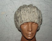 Knitted Chunky Hat Beige Grey Tweed Handmade Cable   designed by Columbinecrochet on Etsy