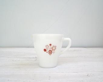 Milk Glass Jug White, Retro Cafe Pitcher Pouring Jug Floral Mid Century Design, Retro Cafe Breakfast Creamer, White Shabby Vase French Glass