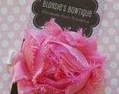 Pink Shabby Flower Hair Clip - Bubblegum Pink Flower Hair Clip - Shabby Flower - Hair Clip - Hair Clippie
