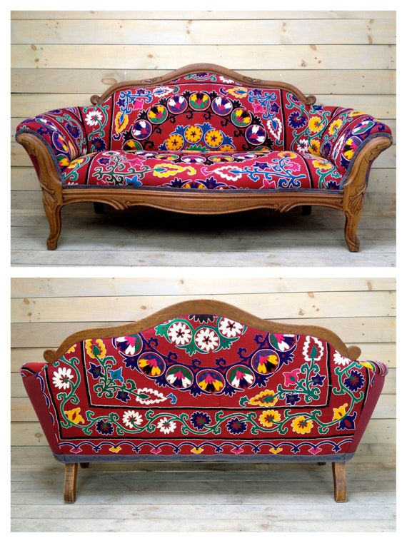 Vintage Carved Settee Reupholstered With Antique Red Suzani
