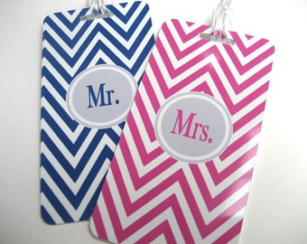 Luggage Tag - Mr and Mrs Luggage Tags -  His and Hers Chevron Luggage Tags-  Wedding Luggage Tag Set - Hot Pink - Navy Blue