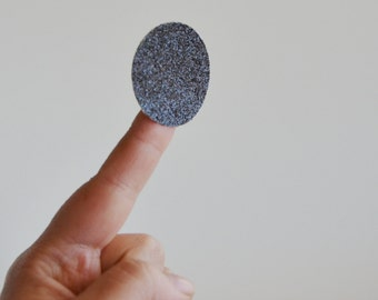 black glitter large circle stickers  (24 stickers)