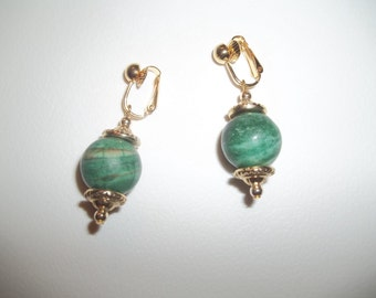 New Green Malachite Gold Plated Clip On Earrings