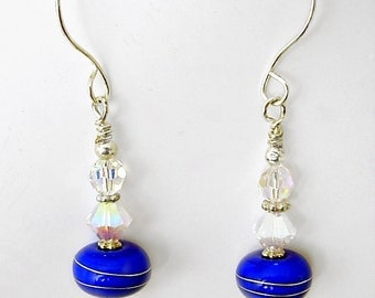 Sterling Silver, Blue Lampwork, Swarovski Dangle Earrings, Handmade Ear wires