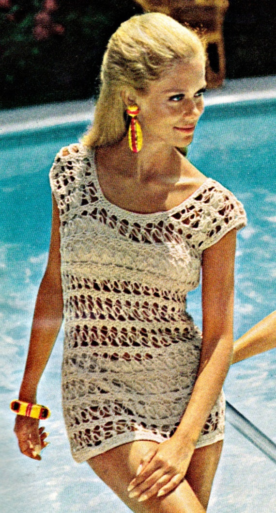 Crochet pattern for beach pool swim cover up by for Thread pool design pattern