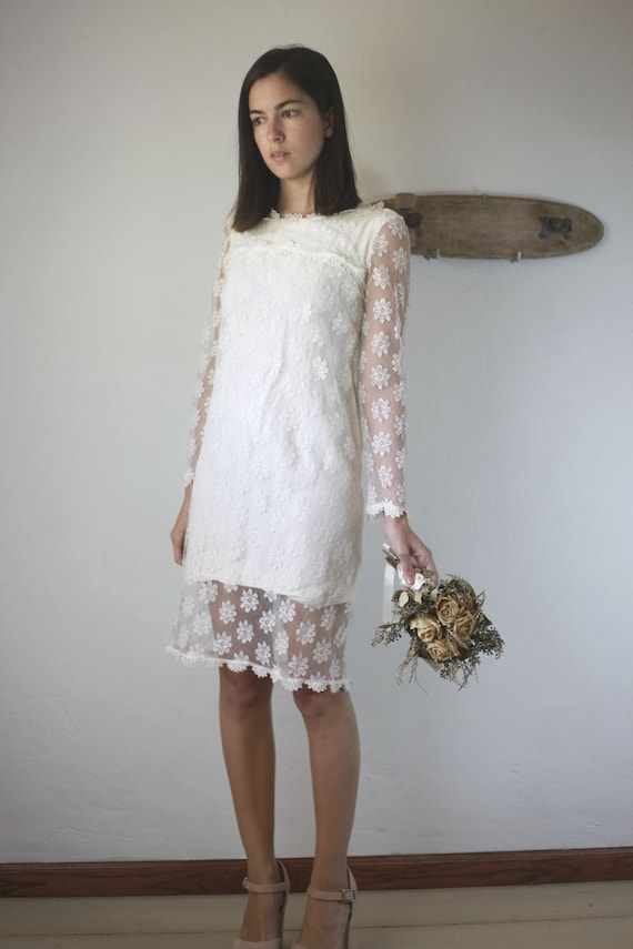 Lace long sleeve sheer daisy mini wedding dress by birdyjames for Daisy lace wedding dress