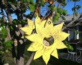 Rustic Yellow Sunflower Shaped Outdoor Wood Bird Feeder