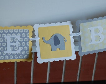Welcome Baby Banner, Elephant Baby Shower Banner, Elephant Decorations, Elephant Party, Pastel Yellow, Greys