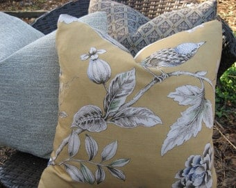 """Pillow Cover--18"""" Yellow and Grey Bird Floral Nature Fabric"""