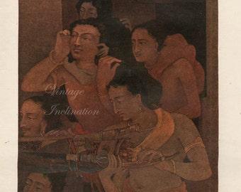 1918 ANTIQUE The House of Lac, Myth colour lithograph art print, hindus buddhist 1918 spiritual