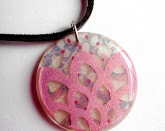 SALE Opalescent Resin Pendant Necklace Pink Purple White Resin Gray Suede Sterling Silver CLEARANCE CLOSEOUT