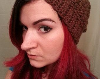 Milk Chocolate Super Slouchy Crochet Beanie Hat