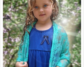 Flower girl's lace shrug with 4 wearing options- shrug, shawl, twisted shawl and a scarf. Flower girl clothing, junior bridesmaid (CL300g)