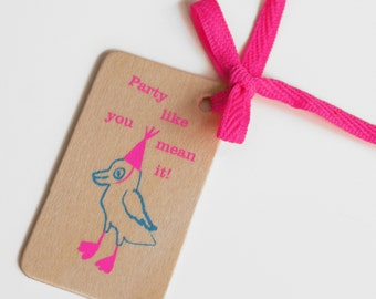 Wooden Neon Gift Tag. Party bird in neon pink and blue.