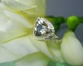 Herkimer Diamond Smokey Ring 14K White Gold Diamond Trillion Cut  Antique Style