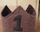Reversible Waldorf 1st Birthday Crown Recycled Wool Sweater Tree Applique Adjustable