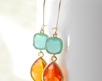 Summer Drop Earrings, Dangle Earrings, Bridesmaid Earrings,  Bridal Jewelry, Turquoise Orange Drop Earrings Dangle Earrings Jewelry Limon