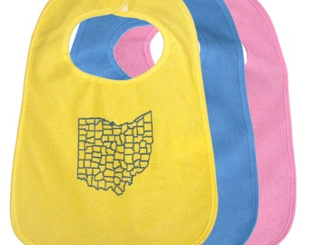TerryCloth Bib with Ohio Counties Design (Yellow, Blue, Pink)