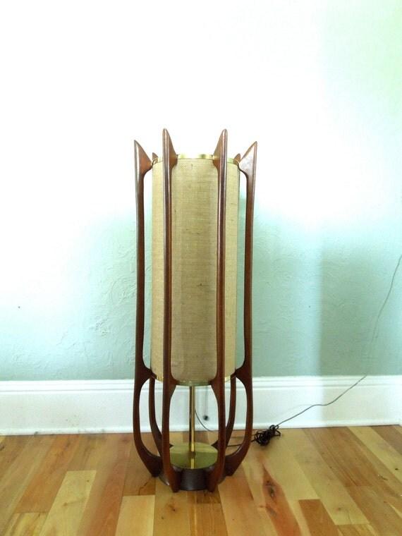 Sale Vintage Adrian Pearsall Table Lamp Modeline Teak Brass