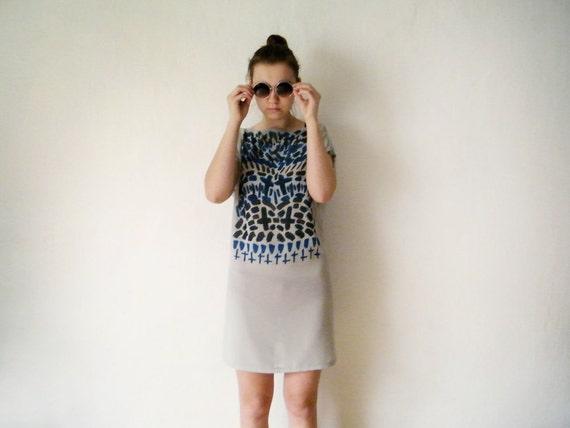 COSMIC ORDER Dress - Inverted Cross Print Sheer Zen Tunic Dress Geometric Abstract Print Chiffon Tunic Gray Mint Blue Black