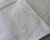 "2 Monogram ""T"" Embroidered Hankies"