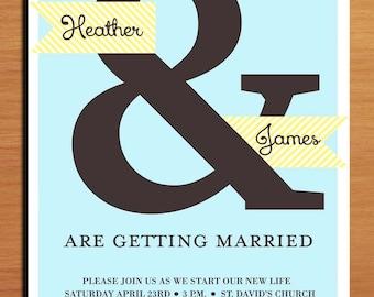 Blue and Yellow Ampersand Wedding Invitation PRINTABLE / DIY
