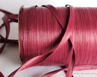 Burgundy Claret Raffia Ribbon - 30/100 yards - 1/4 inch wide