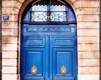 Paris Door Photography, Old Doors Paris, Paris Photography, Blue Door, Old Door Wall Art, Vintage Look