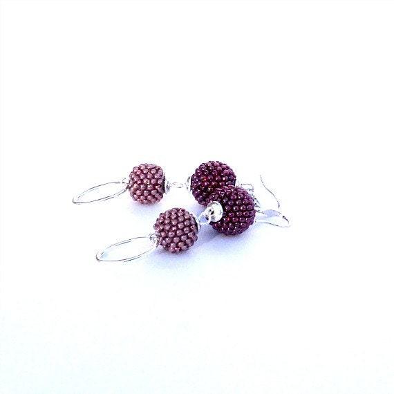 Red Earrings, Blush Pink Earrings, Seed Bead Jewelry