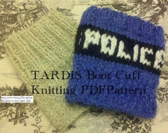 Knitting Pattern For Tardis Socks : Knitting Pattern: Doctor Who Tardis Socks by Dovanna on Etsy