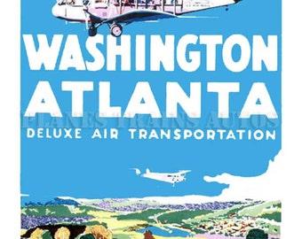 Vintage Airline Poster. Eastern Air Transport Washington Atlanta c1931. PRINT