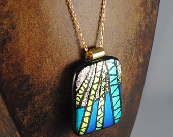 Fused Dichroic Glass Engraved Pendant