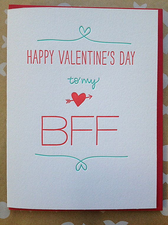 Best Friend Valentine Card Letterpress Valentine for BFF – Valentine Card Friend
